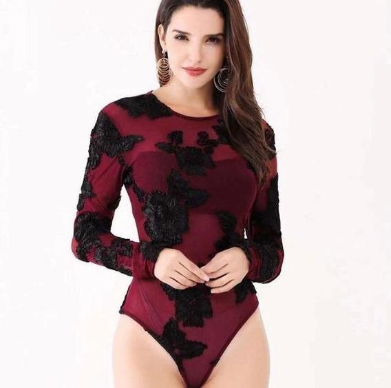Body Tule Feminino Transparente Bordado Pmg Rosas Estampadas Manga Longa Elegante Sexy Panicat Balada/festa Gola Oval