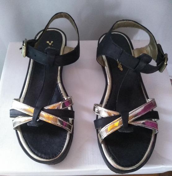 Sandalias Negras Chatitas Mujer