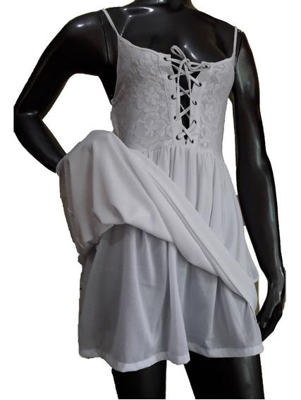 Vestido Corto Forrado Combinado Encaje- Escote Acordonado