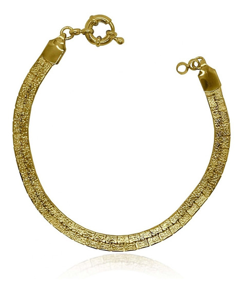 Pulseira Malha Serpente Alto Brilho Folheado A Ouro 18k