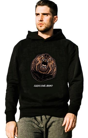 Moletom Casaco Jaqueta Estampa Urso Bear Aggressive Brand