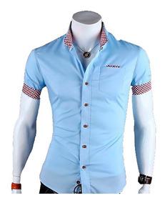 Camisa Social Slim Fit 100% Algodão Manga Curta Mod Cx02