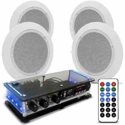 Kit Som Ambiente 4 Arandelas Redondas + Amplificador Bt