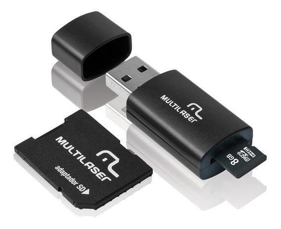 Kit Cartão De Memória Micro Sd 8gb + Adaptador Sd E Pendrive