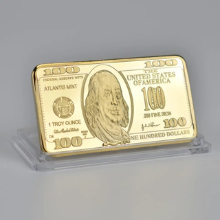 Lingote 100 Dolares Americanos Fantasia Color Oro