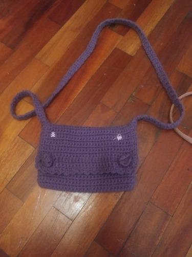 Mini Cartera Nena Crochet Violeta Larga Morral