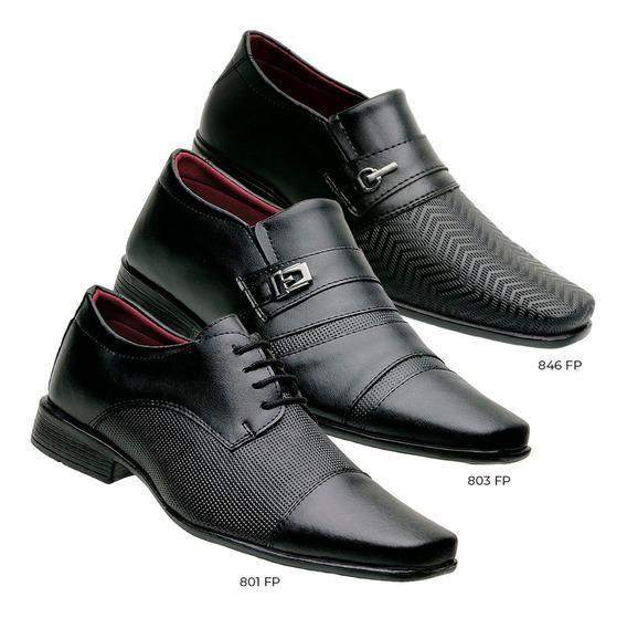 Sapato Social Masculino Kit Com 3 Pares Em Sintético