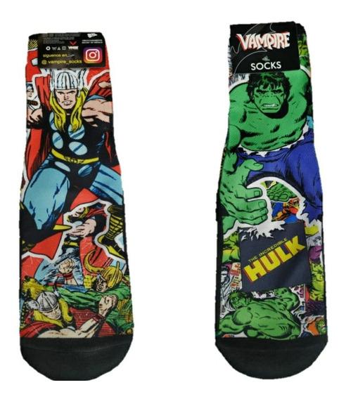 Calceta Subliminada Unisex Dibujos Animados Super Héroes
