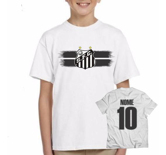 Camiseta Infantil Santos Futebol Personalizada Com Nome