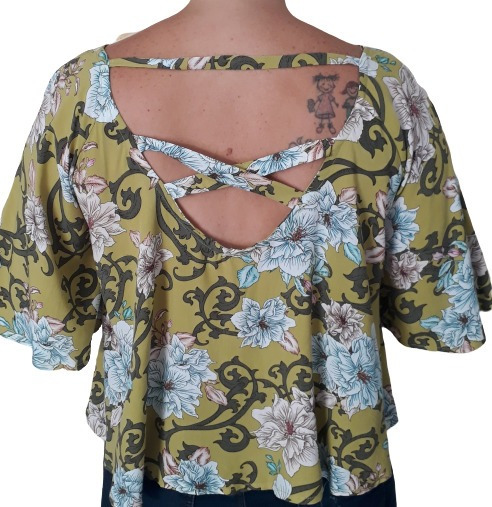 Blusa Feminina Bata Viscose Soltinha Estampada Cropped Plus