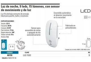 Luz De Noche Con Sensor De Movimiento Y Luz Voltech 46159