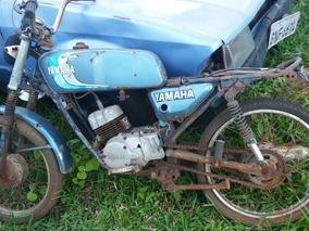 Yamaha Rx 80 Moto Antiga Decoração Placa Amarela Com Motor