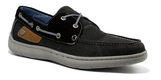 Zapatos Hombre Cavatini Nautico Tela Jeans Acordonado