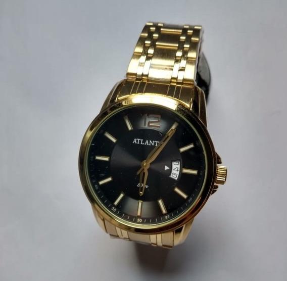Relógio Masculino Dourado Barato Social Aço Luxo Atlantis