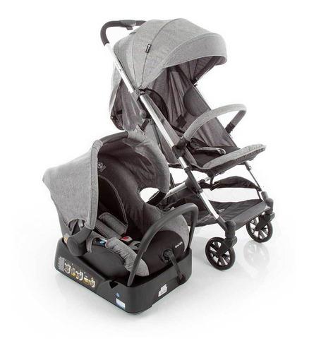 Carrinho Com Bebê Conforto Travel System Skill Trio Cinza