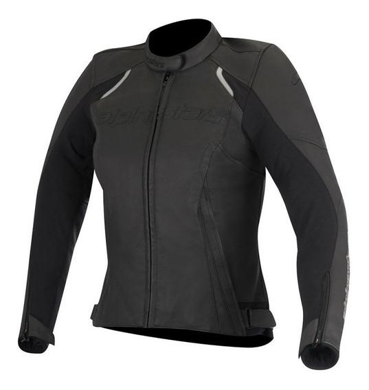Chamarra Para Moto Alpinestars Mujer Stella Devon Negro Piel