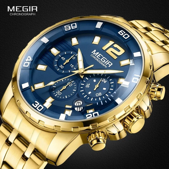 Relógio Masculino Megir Dourado Original Pronta Entrega