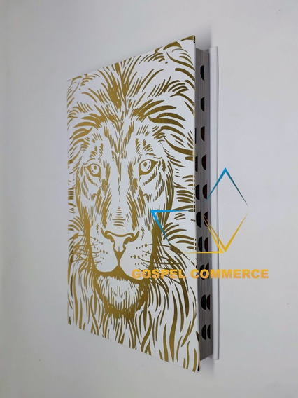 Bíblia Sagrada Jovem Capa Dura Leão Branco Com Harpa Cristã