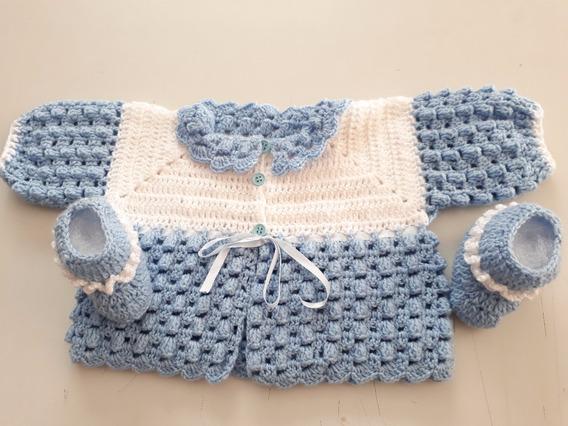 Kit Casaquinho Com Sapatinho Croche R/n Azul E Branco