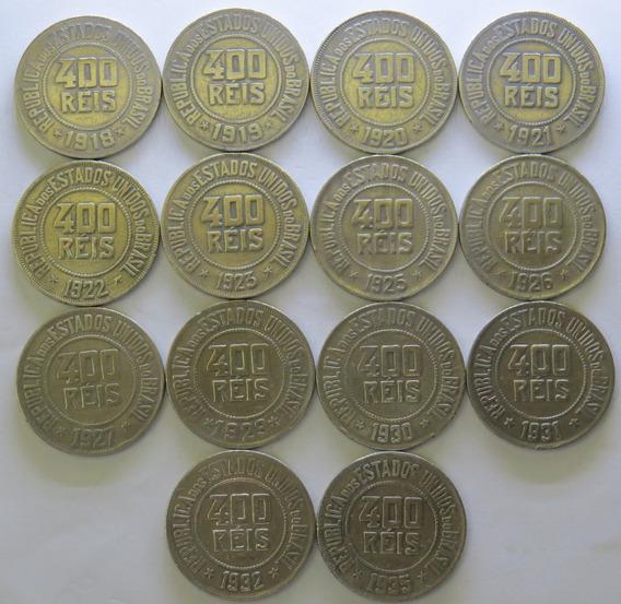 Arremate Lote 14 Moedas 400 Réis De 1918 A 1935 - Ref. 0177