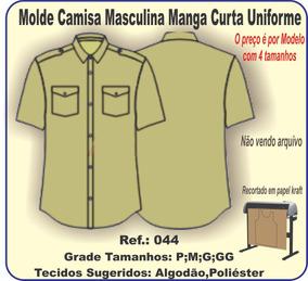 Molde Camisa Masculina Manga Curta Uniforme 044