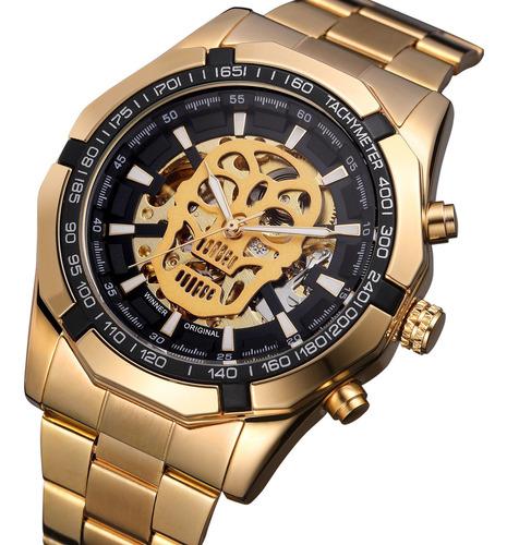 Imagen 1 de 6 de Winner Men Reloj Automático Con Diseño De Calavera Luminosa