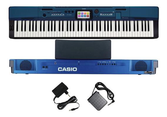 Piano Casio Privia Px560 Mbe 88 Teclas Azul Com Fonte