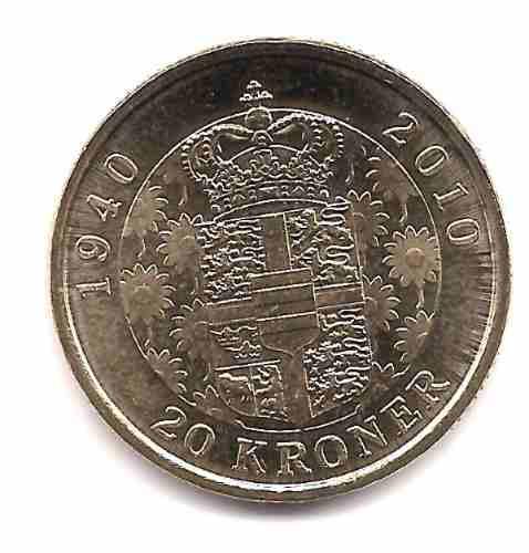 Moneda Dinamarca Año 2010 Reina Margarita 70 Aniversario