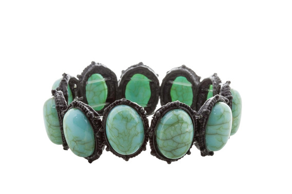 Bracelete Turquesa Pedra Oval