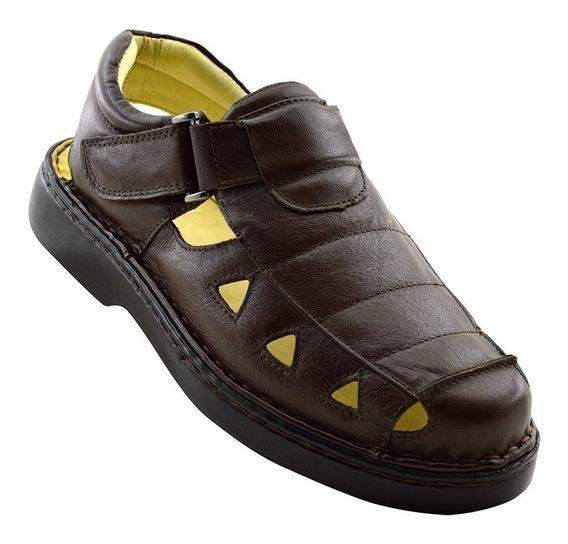 Sandália Masculina 302 Em Couro Comfort Café Doctor Shoes