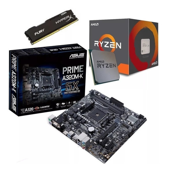 Kit Amd Ryzen 5 2400g 3.6ghz + Asus A320m-k + 8g