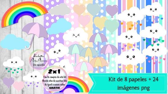 Cliparts Y Papeles Lluvia De Amor Mod. 6 Kit Imprimible