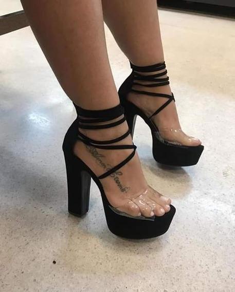 Sandalias Femininas De Amarrar Salto 14 Cm