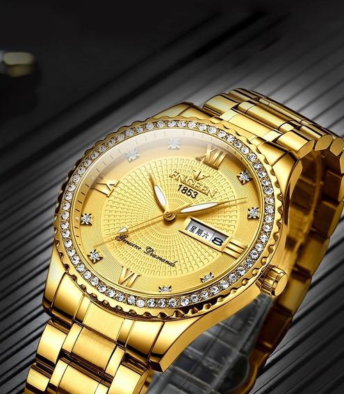 Relógio Luxo Unissex Fngeen Dourado Estilo Fashion Strass