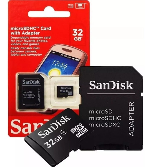 Cartão Memoria Micro Sd 32gb Adaptador Box Classe 4 Original