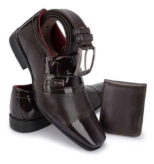 Sapato Social Masculino Envernizado Kit Cinto + Carteira 834
