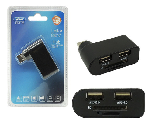 Imagem 1 de 2 de Leitor De Cartão Sd Mini Sd Tf Hub Porta Usb 2.0 Pc Notebook