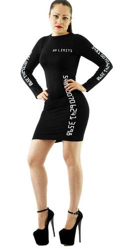 Vestido Sexy Negro Corto Pegado Casual Fiesta Antro Larga