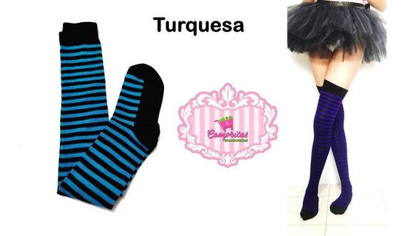 Media Calceta Over Knee Lolita Halloween Acrilan Fiusha/negr