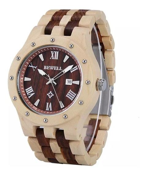 Relógio De Pulso Masculino Em Madeira De Bambu Bewell