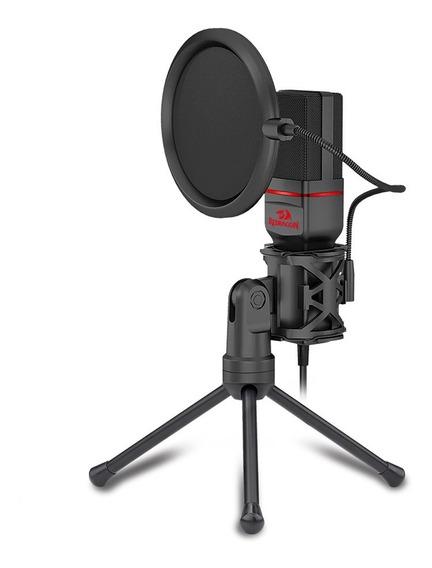 Microfone Gamer Redragon Streamer Seyfert C/ Tripé Gm100