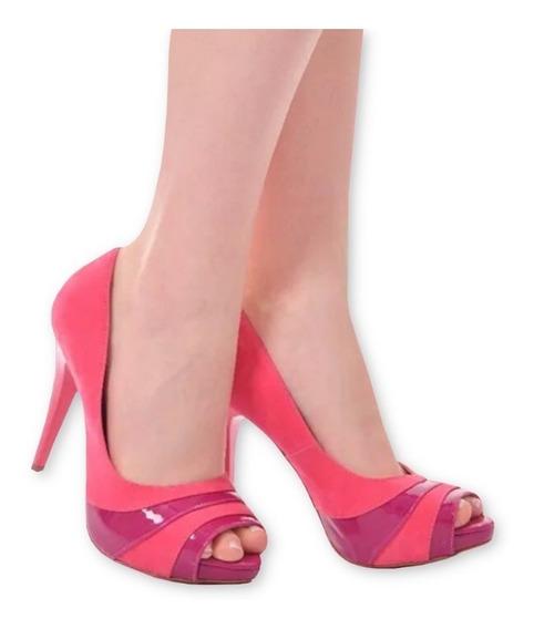 Sandália Meia Pata Salto Alto Fino Rosa Pink Listra Roxo