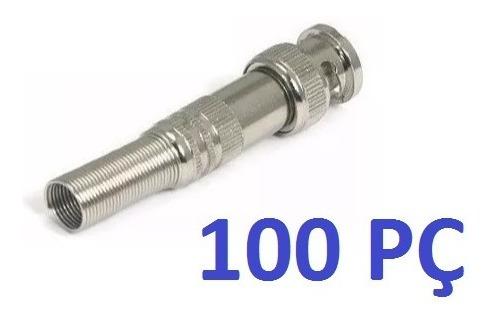 Kit 100 Conectores Bnc Macho De Mola Com Parafuso 4mm Cftv