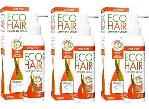 Eco Hair Locion Crecimiento Anticaída X 125 Ml Combo X 3
