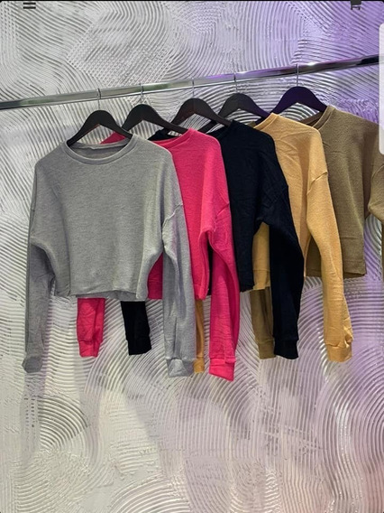 Buzo Sweater De Algodon Tela Waffle Mujer