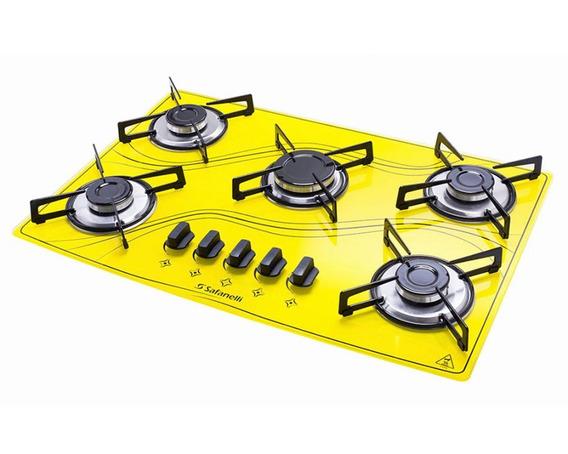 Cooktop 5 Bocas Safanelli Amarelo A Gás Glp Superautomático