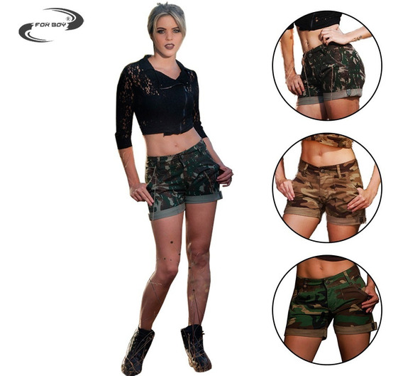 Short Feminino Curto Cintura Alta Barra Virada Camuflado