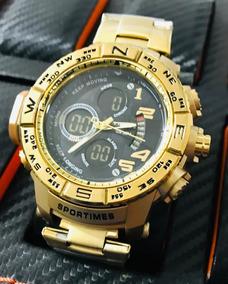 Relógio Masculino Exclusivo Dourado Lançamento Aprova D Água