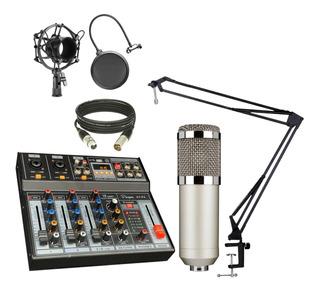 Combo Radio Grabacion Consola Interfaz Usb + Microfono + Acc