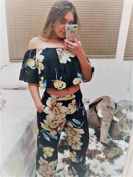 Conjunto Calça Pantalona E Cropped Em Viscose Verão 2018